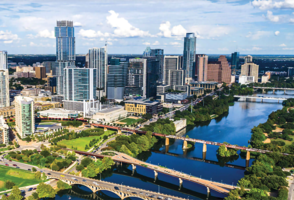 aerial view of downtown Austin