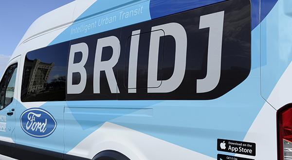 Closeup image of Bridj minibus