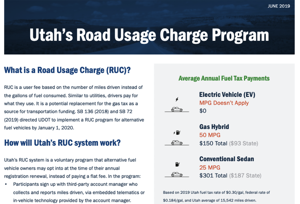 Utah's Road Usage Charge Program report page