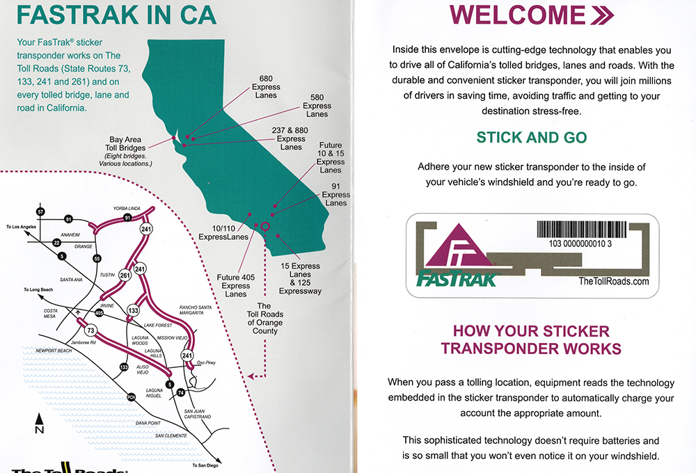 "California's ""Fastrak"" transponder sticker and map of tolls"