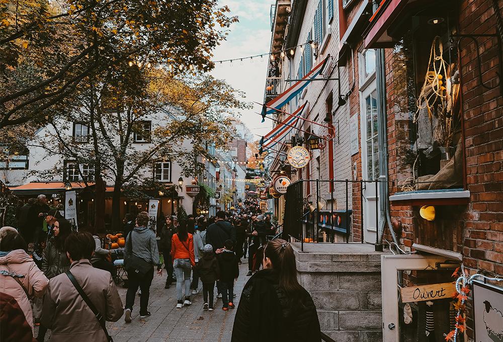 Busy shop-lined pedestrian street