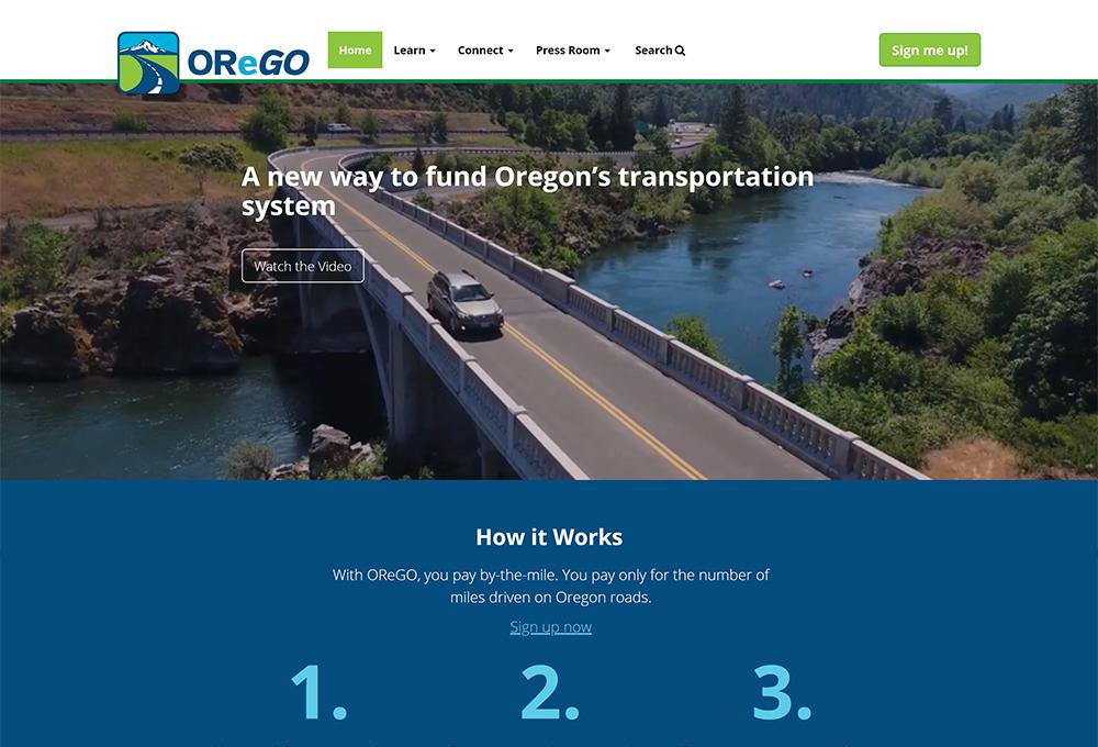 Oregon Department of Transportation webpage