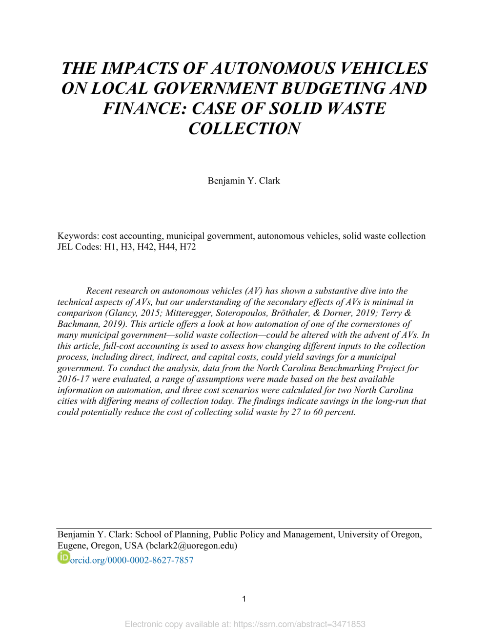 The Impacts of Autonomous Vehicles on Local Government Budgeting and Finance: Case of Solid Waste Collection