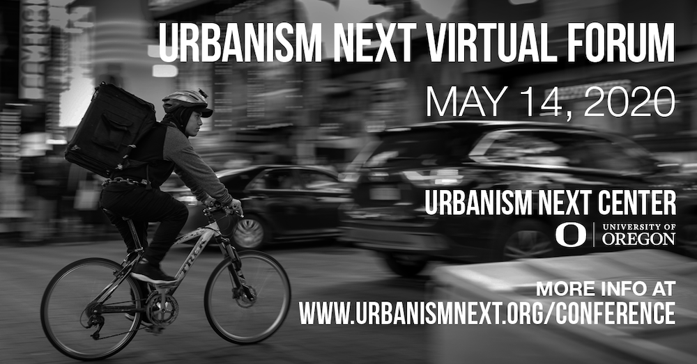 Bike messenger on city street. Virtual Forum May 14, 2020. University of Oregon.