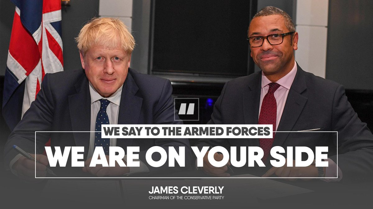 Boris Johnson and James Cleverly Veterans: we are on your side