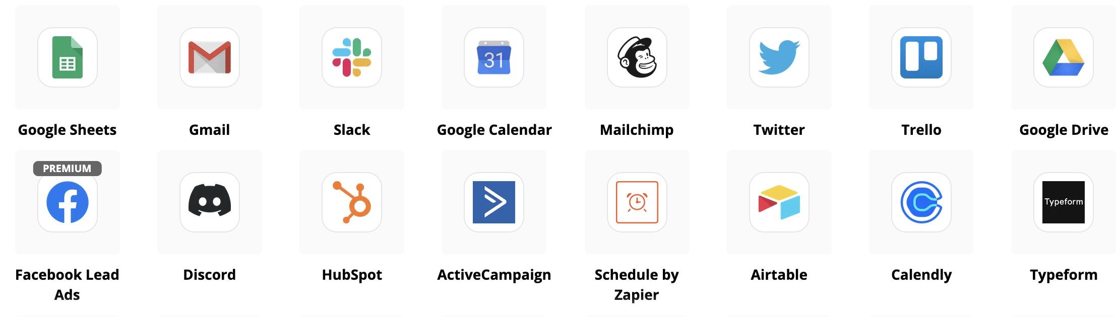 Zapier application logo's
