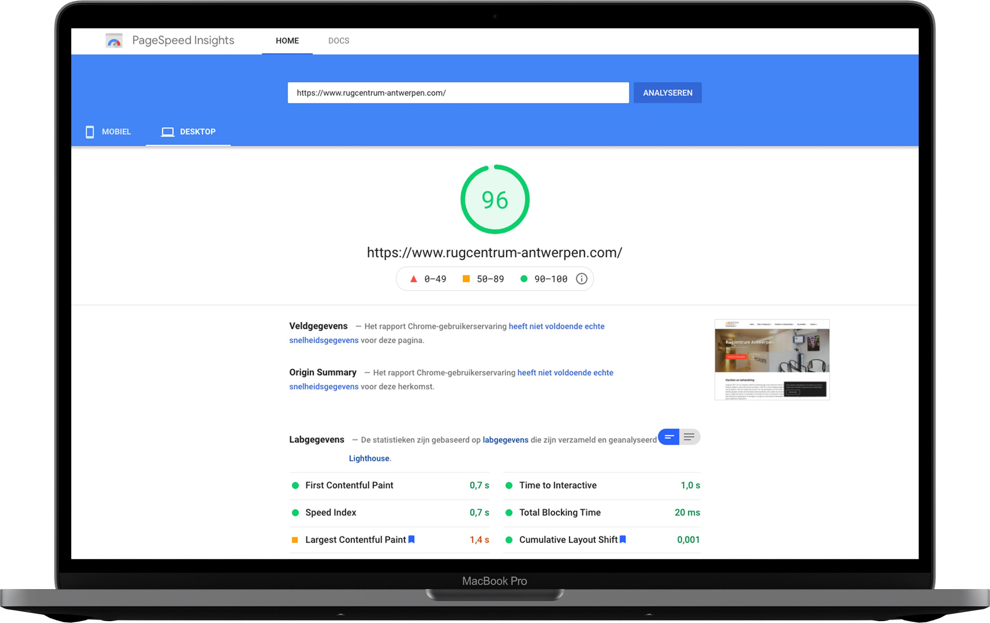Google page speed rugcentrum-antwerpen.com