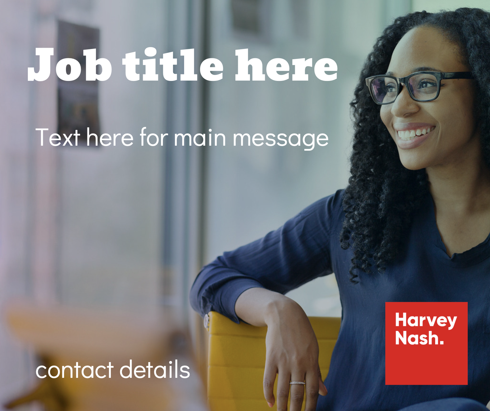 Canva Job Template - smiling woman on chair