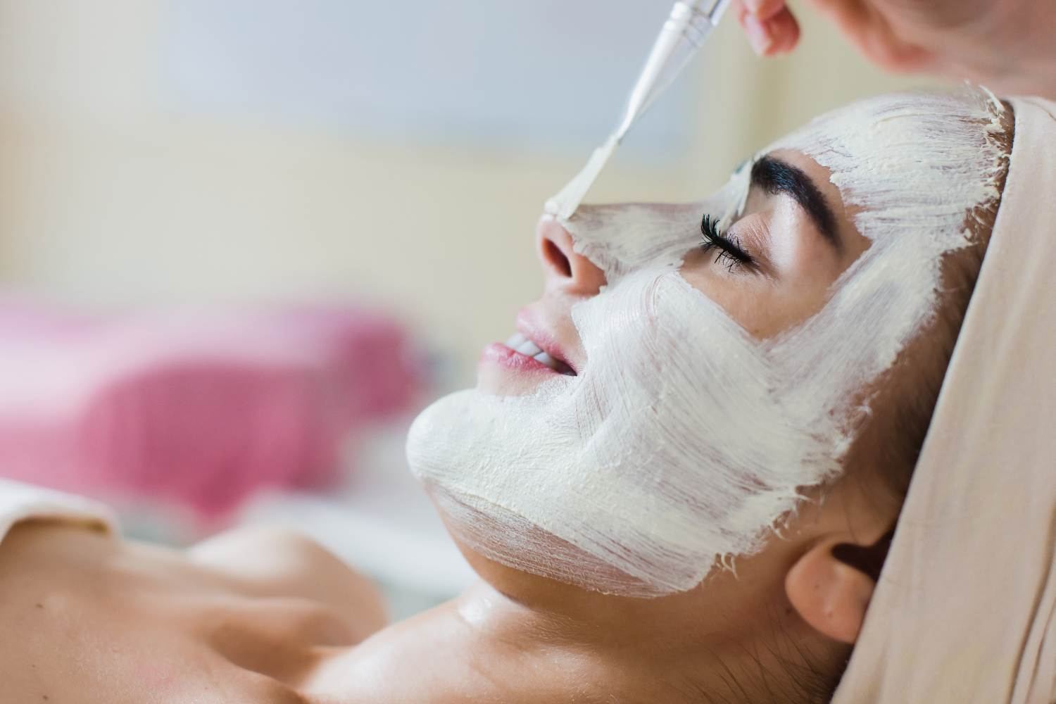 women with chemical peel treatment on her face
