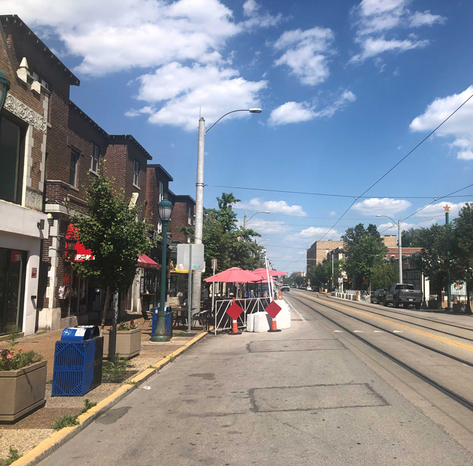 Delmar loop daylight street view with blue sky and clouds in St. Louis