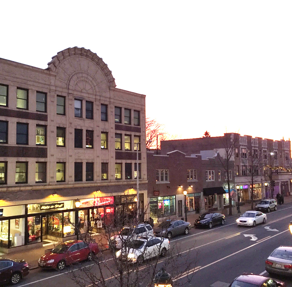 Delmar loop street view in the late afternoon in St. Louis