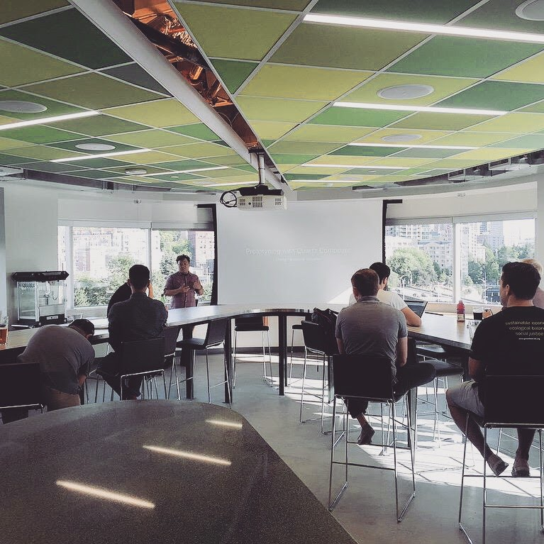 Photo of David speaking at the Seattle Prototypers group.