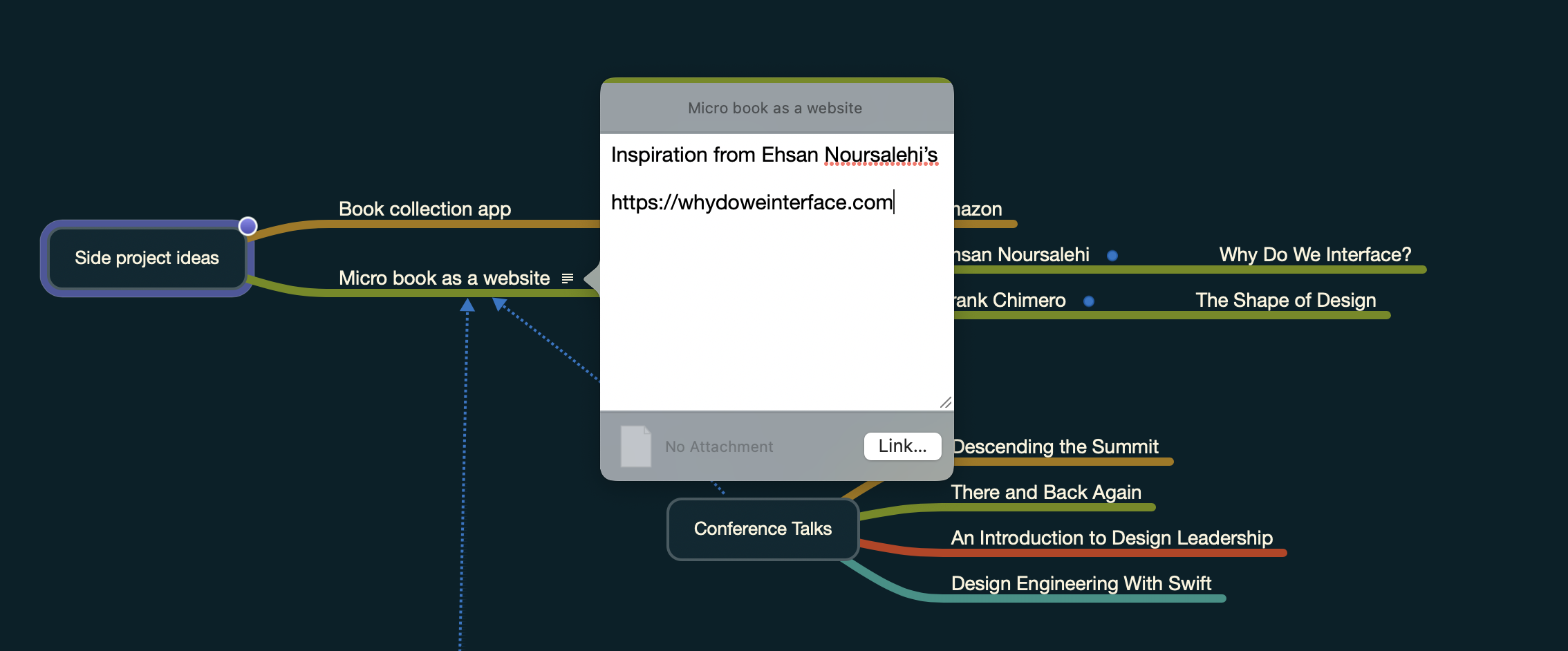 "Screenshot of the app MindNode: Popover with the text ""Inspiration from Ehsan Noursalehi's 