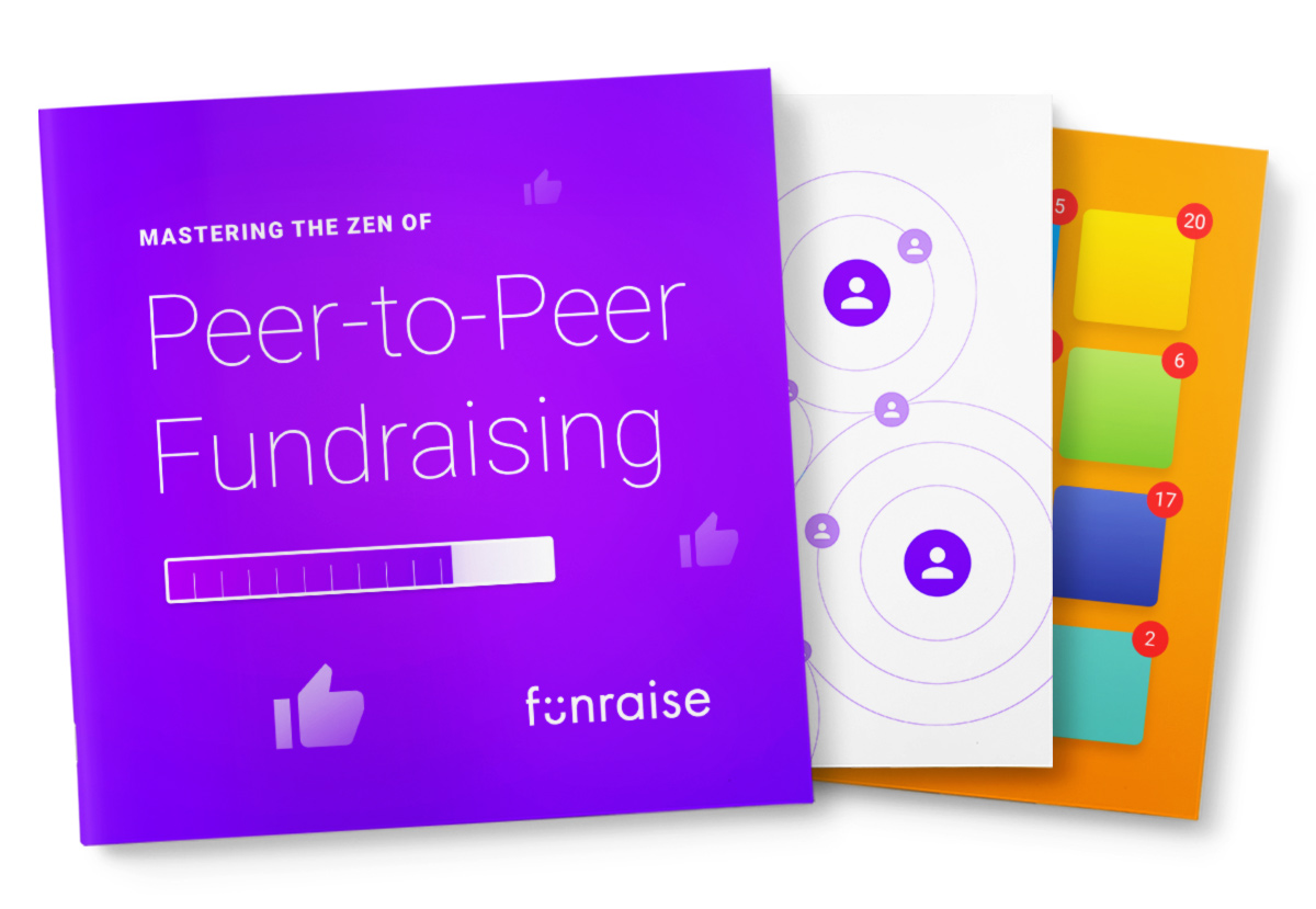 Fanned out cards with a Purple Peer-to-peer Fundraising card on top