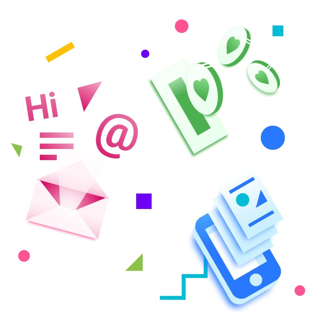 Crisp digital illustration with multicolored digital icons, like an envelope, an @ symbol, and more.