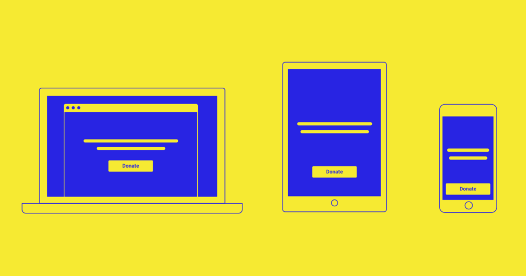 Purely descriptive image of three digital devices with Donate buttons: laptop, tablet, and smartphone. The devices are simple illustrations rendered in royal blue on a bright yellow background.