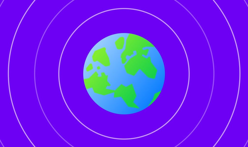 Decorative digital illustration of Earth in blue and green, surrounded by concentric pink circles, all on a purple background.
