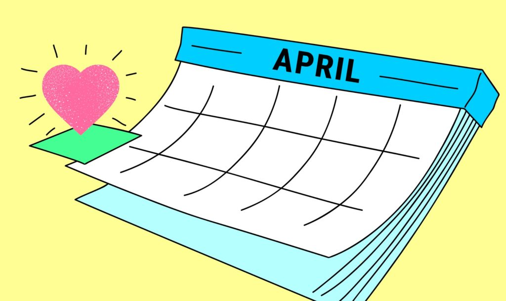 A purely decorative image of an illustrated calendar showing April. One of the day squares is highlighted in green and has a sparkly heart above it. Blue and white calendar on a yellow background.