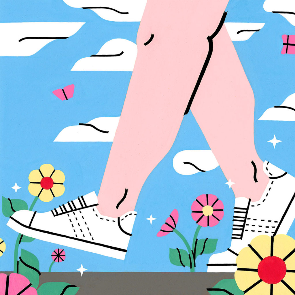 An illustration of Caucasian legs walking to the left. The legs are wearing white sneakers with no socks. The background is a blue sky with white clouds and the foreground is yellow and pink flowers.