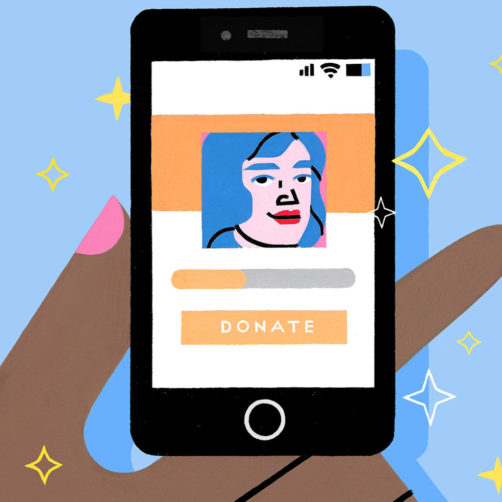 An image of a hand with pink fingernails holding a phone. The phone is showing a mobile online donor account with a face featuring red lips and blue hair. There is an orange Donate button at the bottom of the phone screen. Art by Sophie Cunningham.