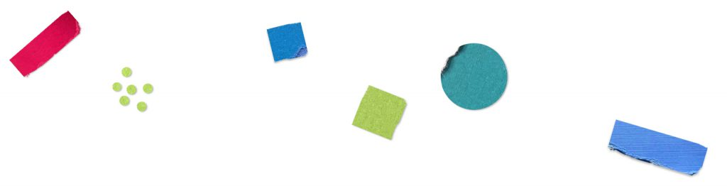 White background with scattered colorful shapes.