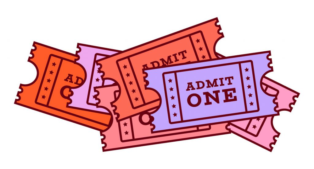 Retro admit one event ticket in red, purple and pink on a white background.