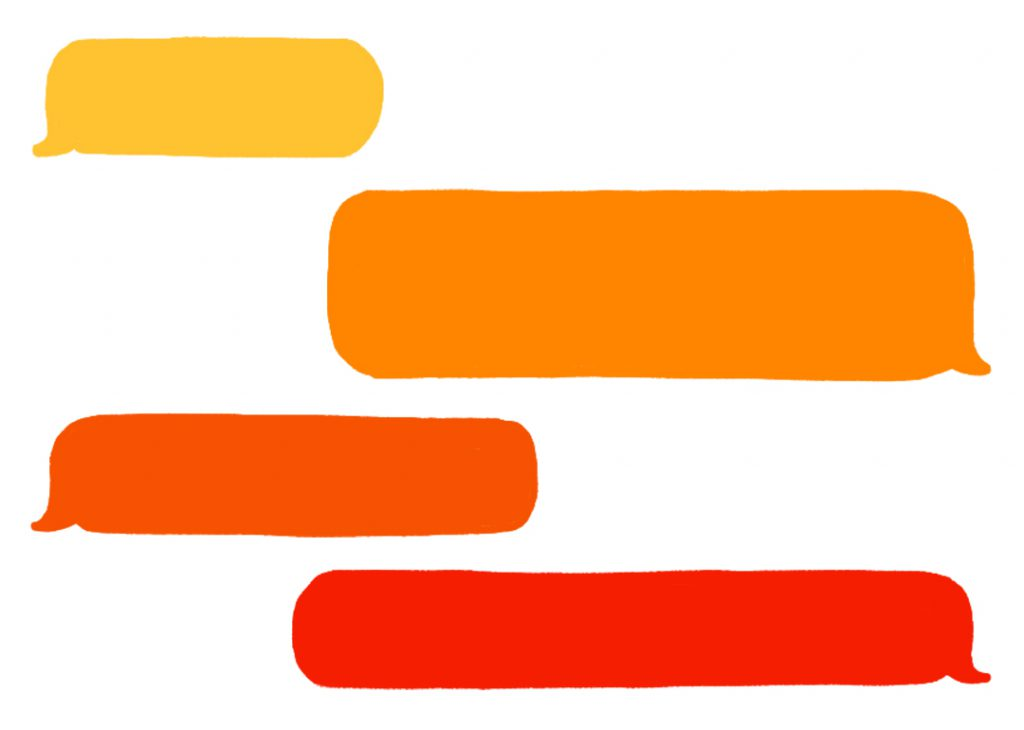 Yellow, orange and red text bubbles on white background.