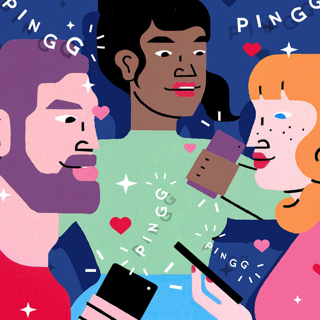 Illustrated group of people (two woman and one man) holding their mobile devices. Art by Sophie Cunningham