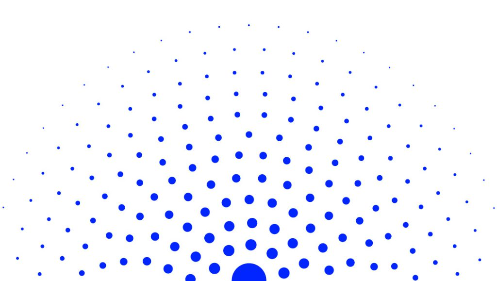 A half-circle made of concentric blue dots on a white background