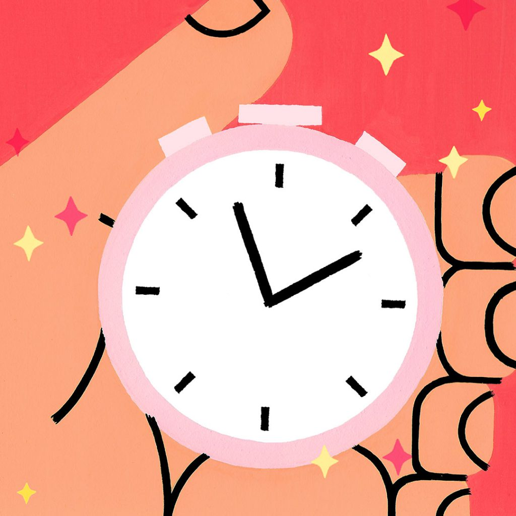 Illustrated hand holding a stopwatch, on a red background with yellow sparkles. Art by Sophie Cunningham
