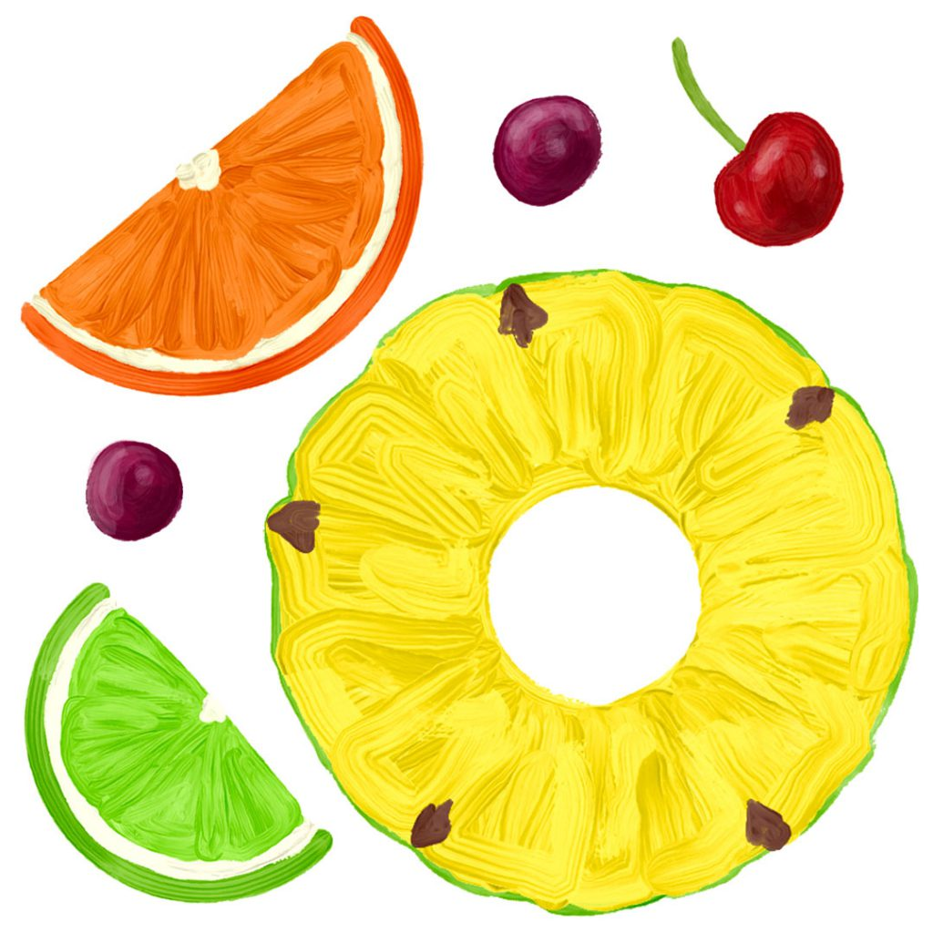 Hand-painted, colorful pieces of fruit floating on a white background.