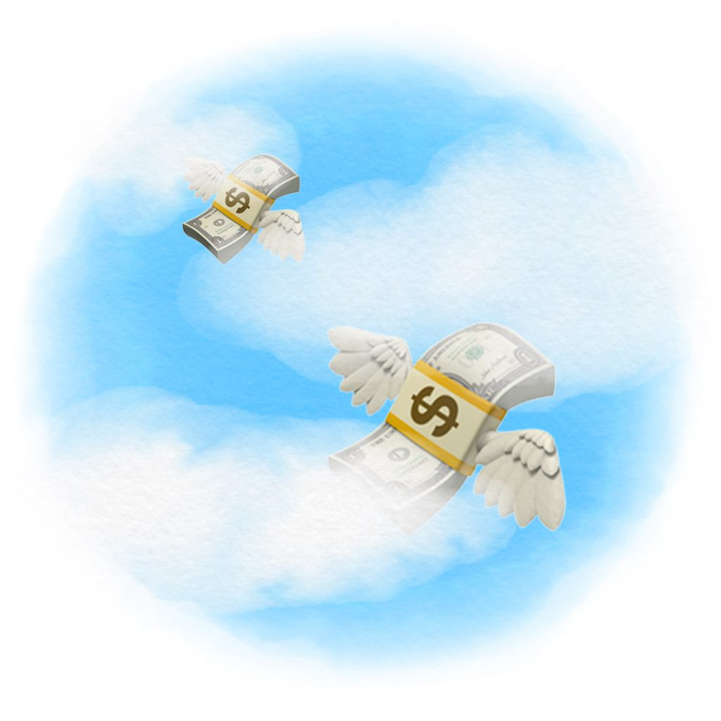 Stacks of money with wings attached flying in the sky through the clouds.