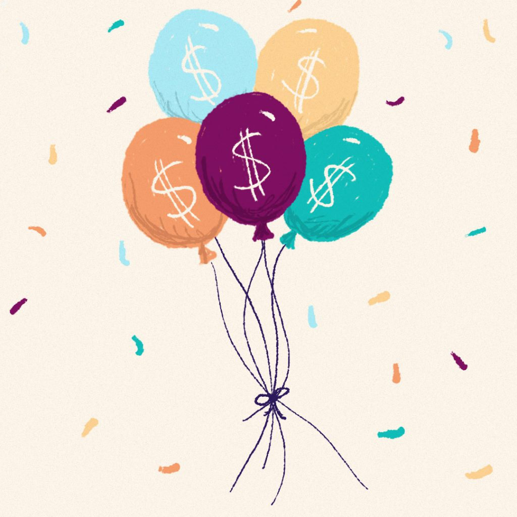 A bunch of colorful illustrated balloons with dollar signs on the front of them.