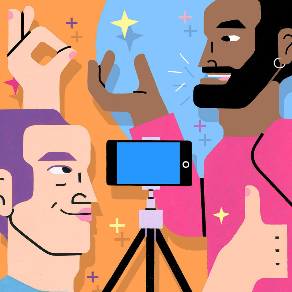Two illustrated men recording a video with their smartphone. Art by Sophie Cunningham.