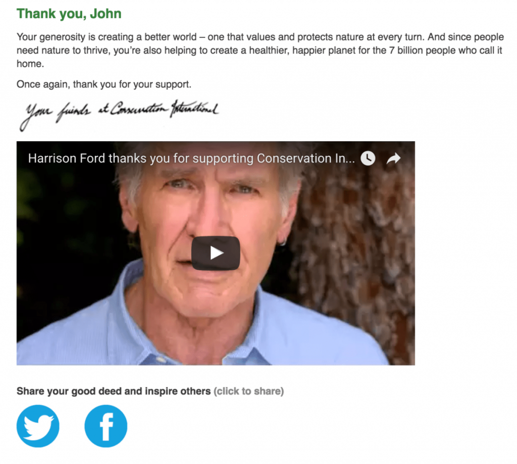 Screenshot of Conservation International thank you page featuring Harrison Ford.