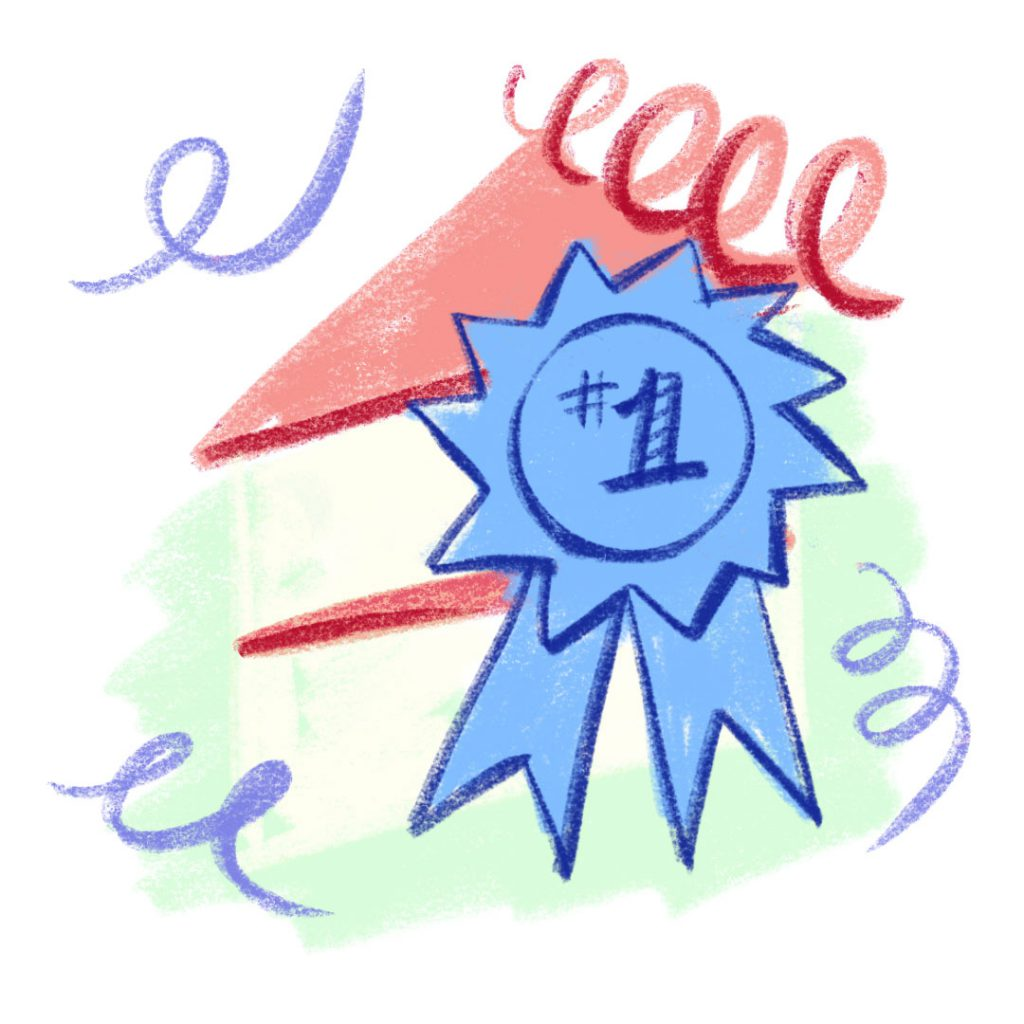Illustration of cake with a prize-winning ribbon on it.