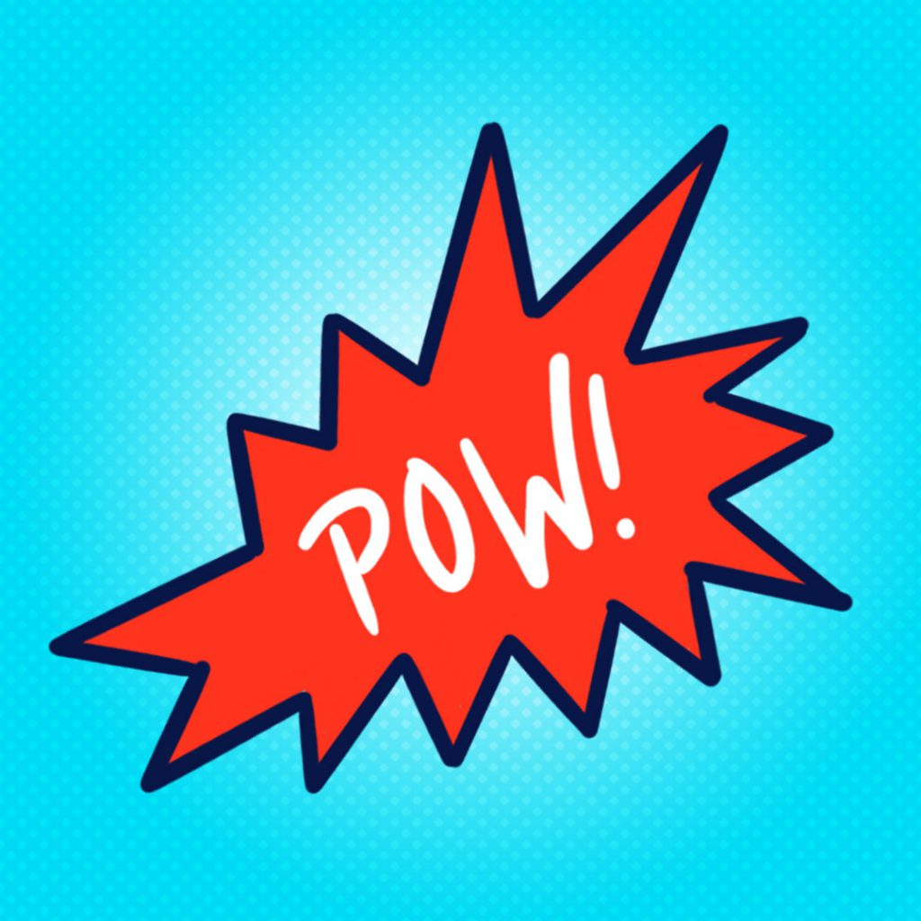 "A red callout shape with ""Pow!"" written the middle, all on a blue background."