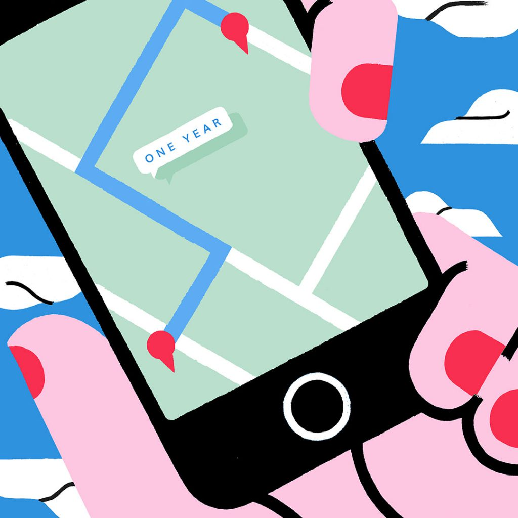 Illustration of hand holding a phone with a GPS map on the screen. Art by Sophie Cunningham.