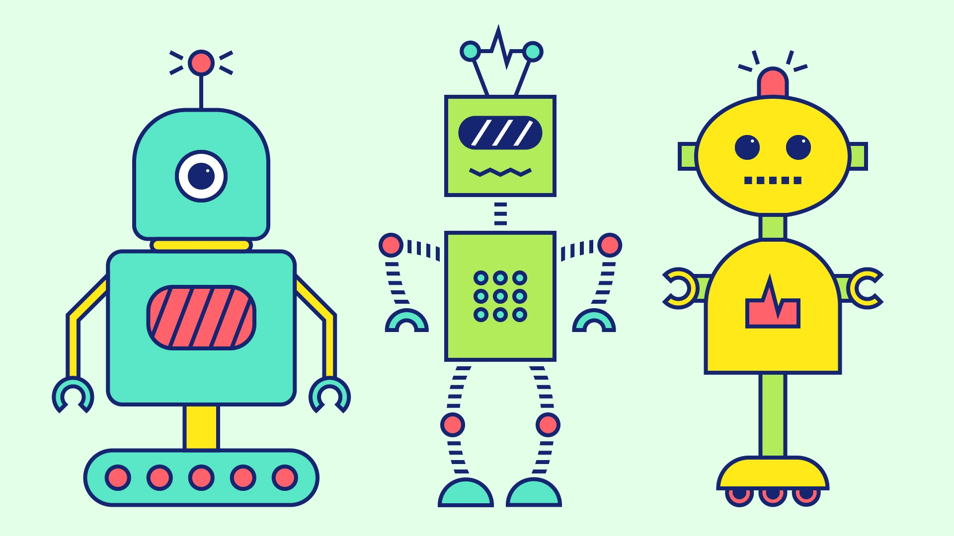 Illustrated toy robots on mint green background.