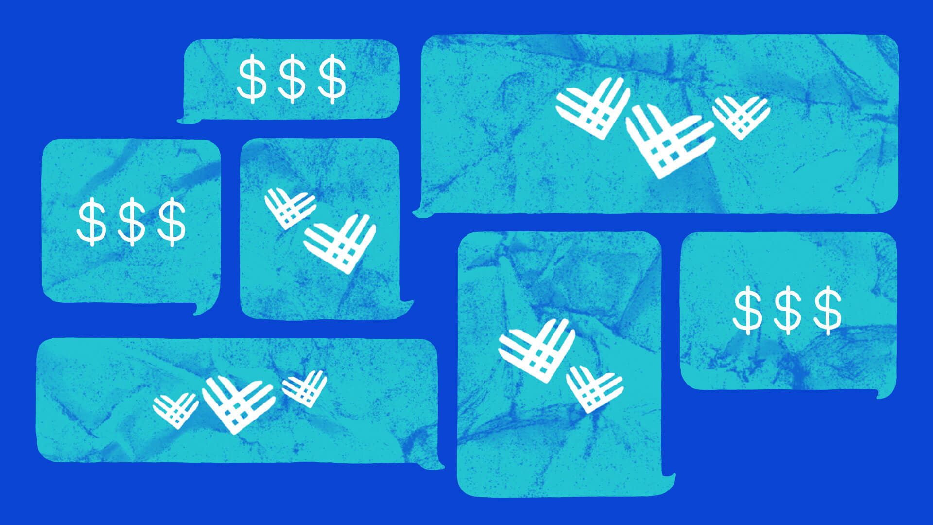 Illustration of teal text message bubbles with the Giving Tuesday logo inside of them on a blue background.