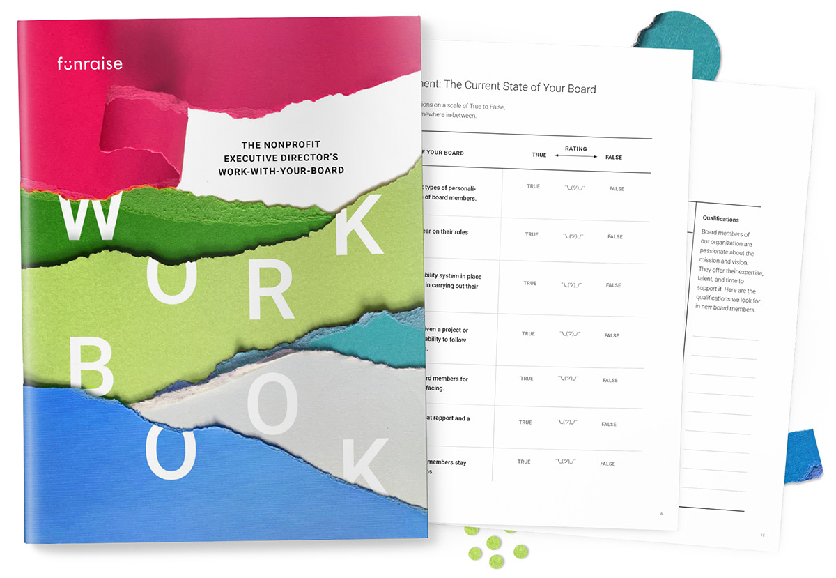Pages from the Nonprofit Executive Director's Work-With-Your-Board Workbook surrounded by cut paper shapes