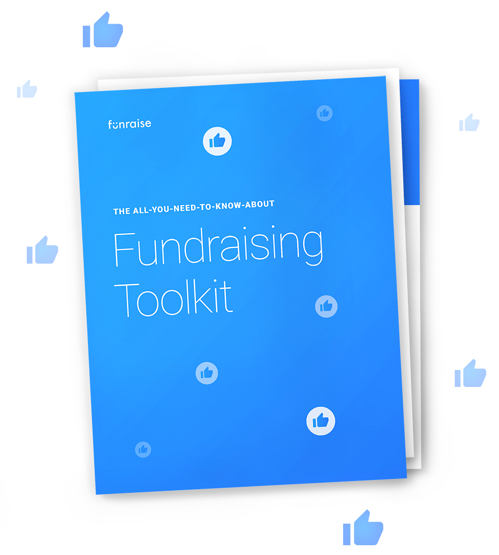 The cover of the Funraising Toolkit surrounded by thumbs-up social media 'like' icons