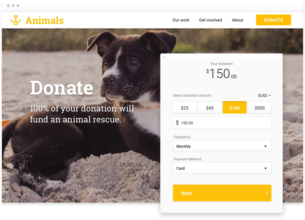 Giving form with a yellow button on the fundraising site of a fictional animal rescue nonprofit. There's an adorable puppy on the site.