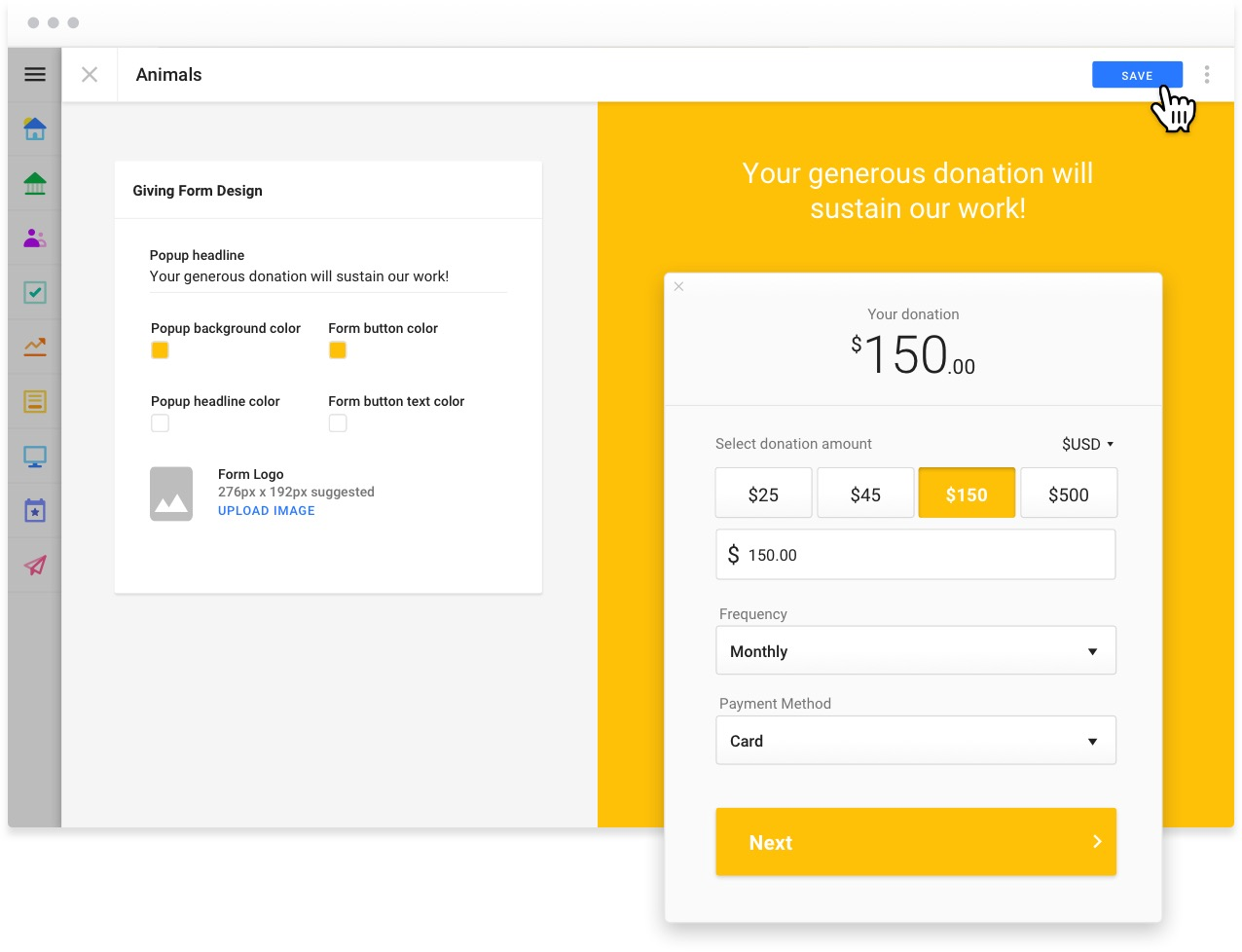 Easily build donation forms with Funraise