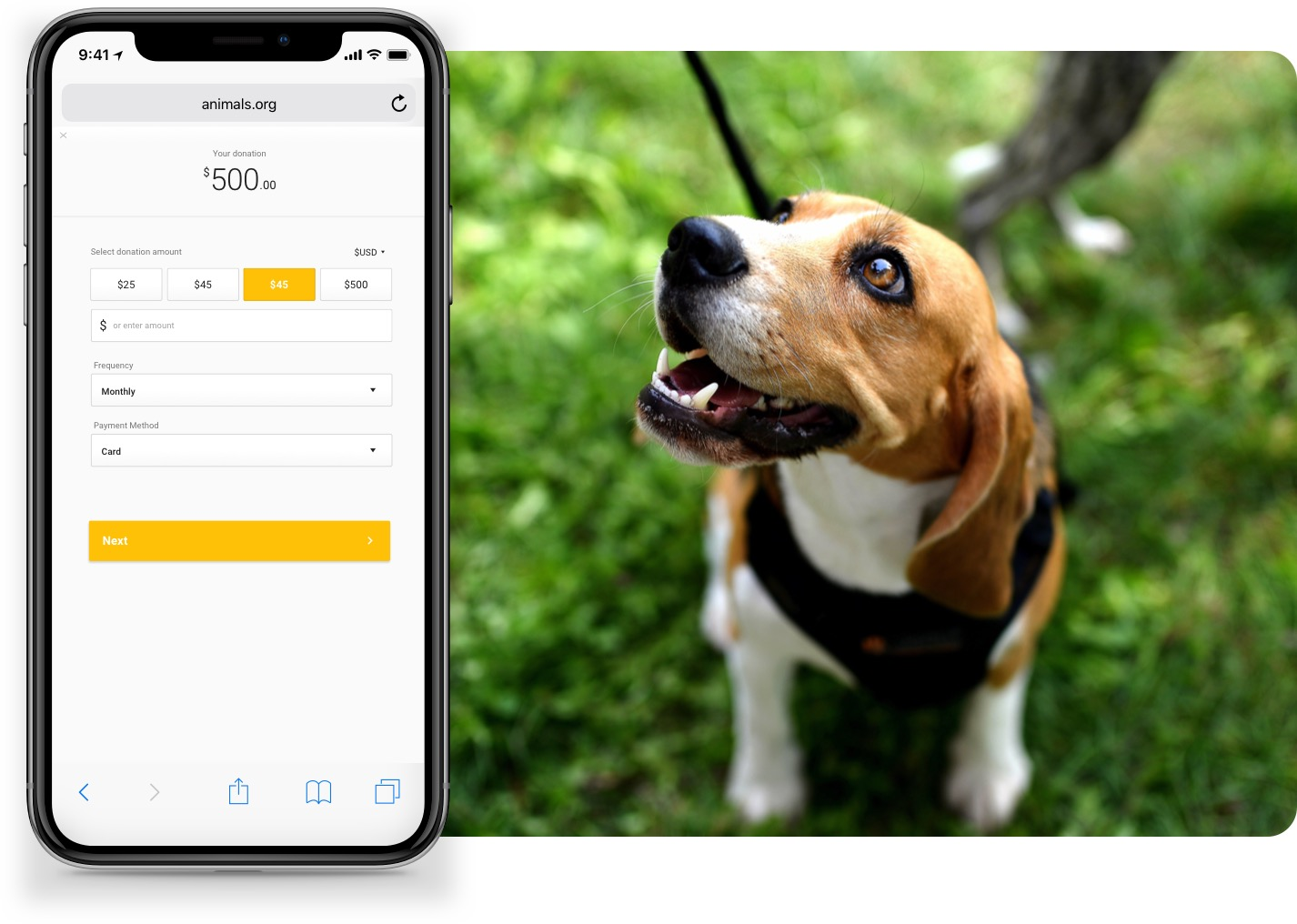 Mobile donation form with a yellow button, shown on a smartphone. All next to an animal fundraising site with a sweet puppy on it!