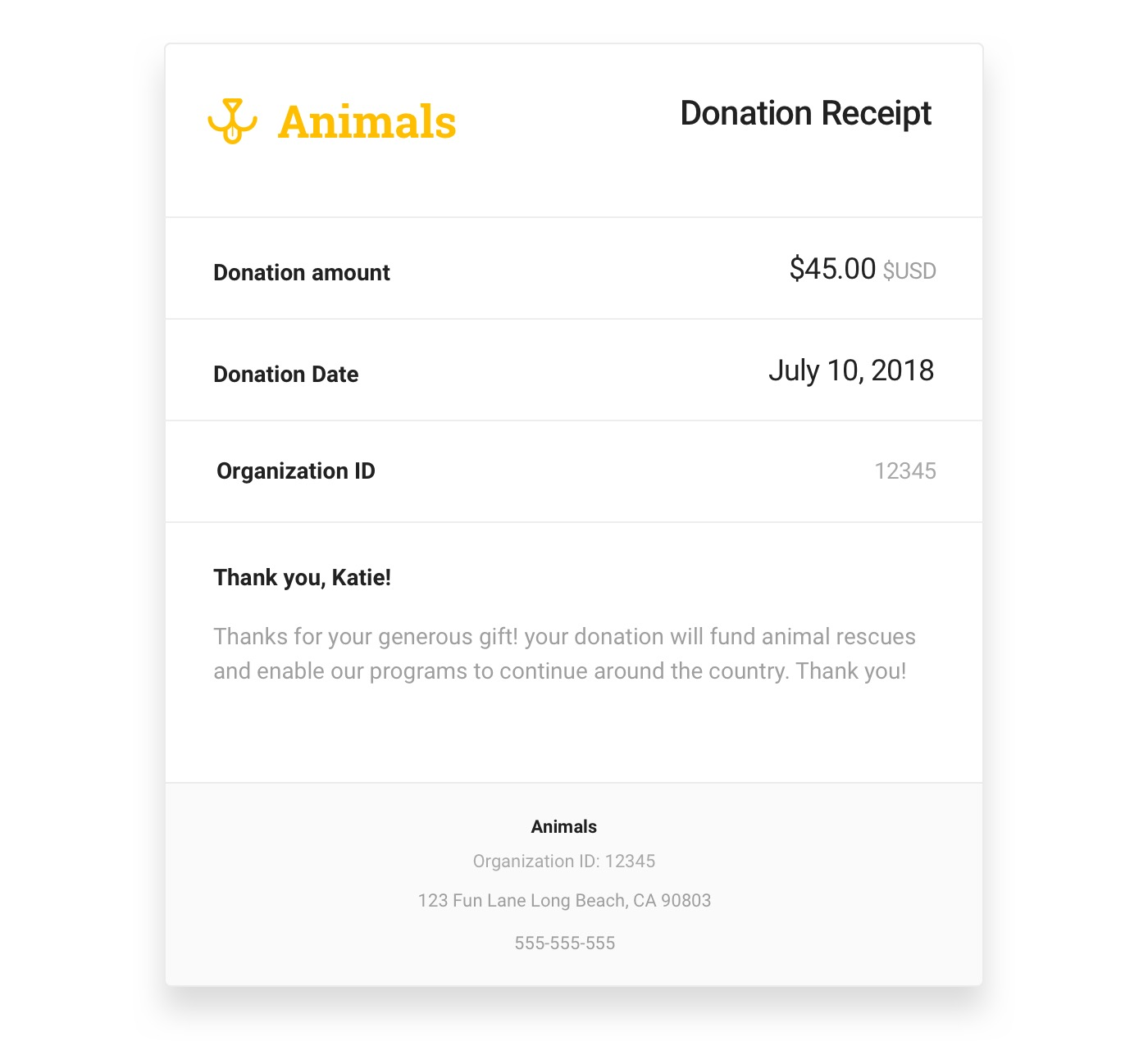 Donation receipt with black text on a white background and yellow logo in the top left corner