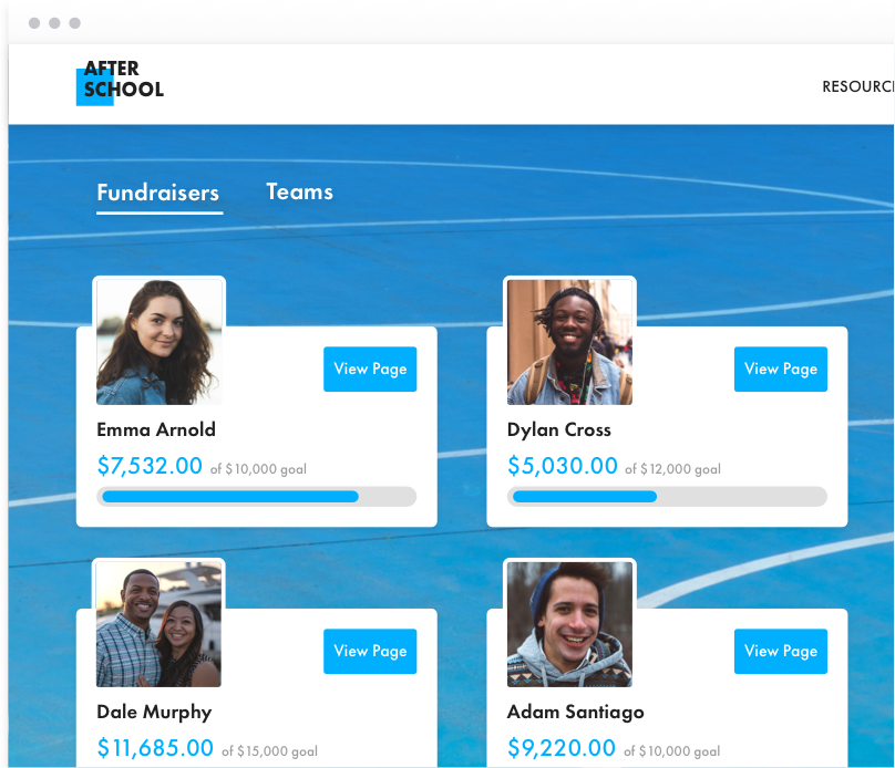 Peer-to-peer fundraising page for a fictional nonprofit named After School. On a blue background, there are four team sections, each with a headshot.