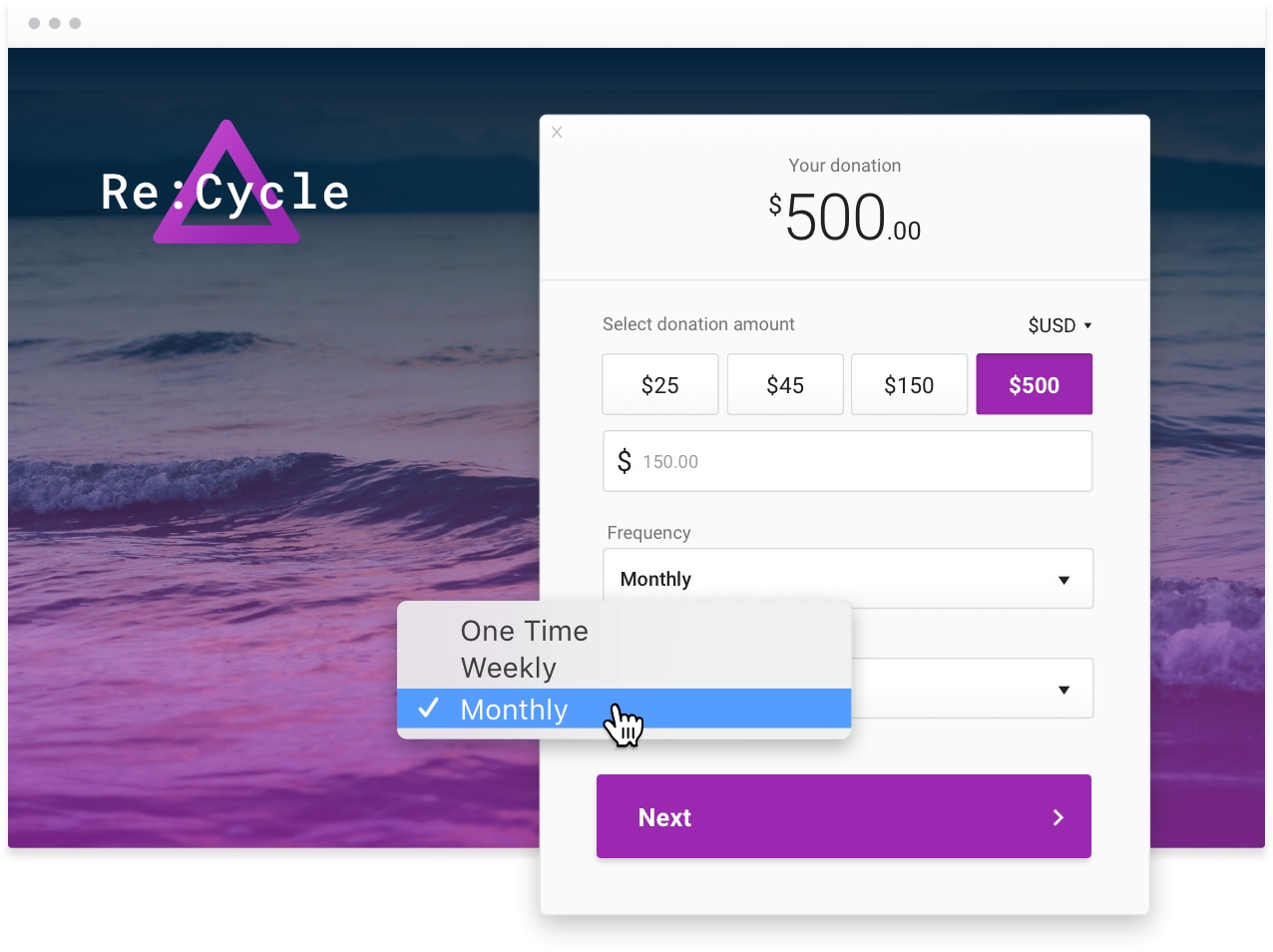 Example donation form for a nonprofit named Re:Cycle. The background is purple water and the donation buttons on the donation form are the same purple.