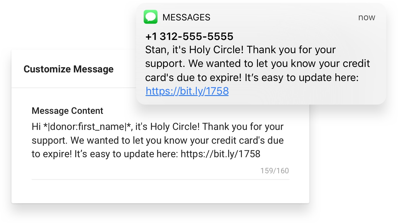 Before and after: Master version of a credit card reminder within Funraise, complete with merge tags and the final text with personalized information input.