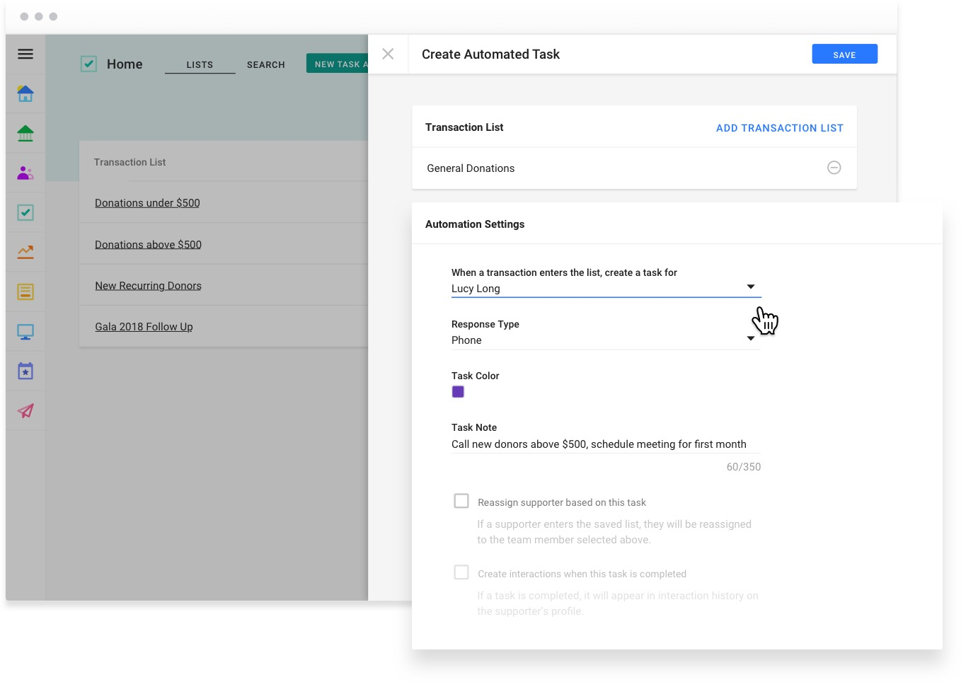 Create Automated Task flyout within the Tasks section of Funraise.